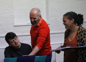 Nathan Martin, Jeremy Lloyd Thomas and Sharon Ballard during a rehearsal of Beyond